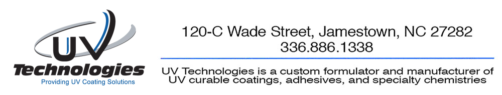 UV Technologies is a custom formulator and manufacturer of UV curable coatings, adhesives, and specialty chemistries